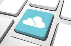 Close-Up Of Sky Blue Cloud Computing Computer Icon Stock Images