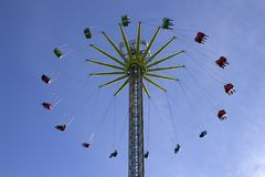 Close Up of Sky Swing in Cardiff Winter Wonderland stock photography