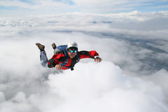 Close-up of skydiver. In freefall Stock Photo