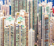 Close-up of the skyscrapers of Hong Kong seen from the Peak Royalty Free Stock Image