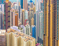 Close-up of the skyscrapers of Hong Kong seen from the Peak Royalty Free Stock Photo