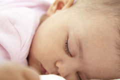 Close Up Of Sleeping Baby Girl At Home Royalty Free Stock Photo