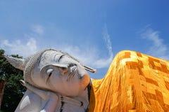 Close up sleeping buddha image in historical park Stock Photo