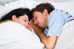 Close up sleeping couple Stock Photo