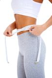 Close-up of slender woman measuring her waist Royalty Free Stock Photography