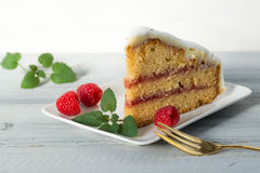 Close up of a slice of cake with fresh berries and mint leaves Stock Photography