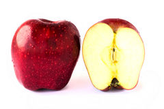 Close up slice fresh red apples on white background. Royalty Free Stock Photo