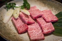 Close up of slice freshness marbled of Japanese Kobe Matsusaka beef stock images