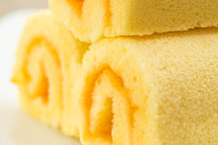 Close up   slice  roll  cake ,orange cake. Stock Image