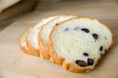 Close up sliced bread. Close up sliced red bean bread Stock Images
