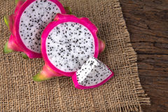 Close up sliced Fresh Dragon fruit or Pitahaya fruit  on the  Stock Photography