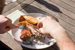 Close up sliced grilled steak pork on fork stock photography