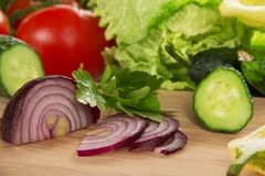 Close-up of sliced ??onions and other vegetables Stock Photo