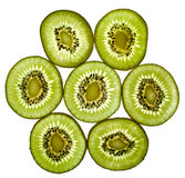 Close up of sliced pieces of kiwifruit Royalty Free Stock Photography