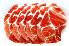 Close-up sliced raw pork royalty free stock photography