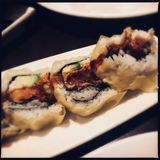 Spicy tuna sushi roll stock images