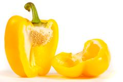 Close up of sliced yellow pepper Royalty Free Stock Image