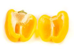 Close up of sliced yellow pepper Royalty Free Stock Photos