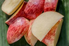 A close up of slices of an Apple. Stock Image