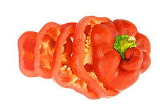 Close up slices of cool red bell pepper Stock Photo