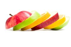 Close up of slices of fruit in shape of apple Stock Photo