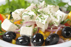 Close-up Slices Of Cheese In A Salad Stock Photography