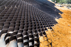 Close up of slope erosion control with grids and earth on steep slope Stock Photography