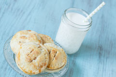 Close Up Small Apple Hand Pies With Milk Royalty Free Stock Images
