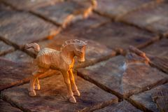 A carved wooden horse Stock Photography