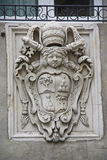 Close up of a small statue in San Petronio facade Stock Images
