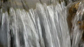 Close up of small waterfall and green plants in nature. Media with audio track stock video