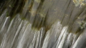 Close up of small waterfall and green plants in nature. Media with audio track stock video footage