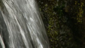 Close up of small waterfall and green plants in nature. Media with audio track. Close up of small waterfall and green plants in nature stock video footage