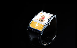 Close up of smart watch with fitness app on screen Royalty Free Stock Photography