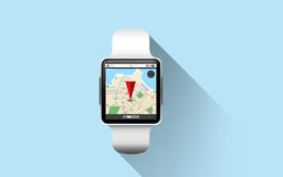 Close up of smart watch with gps navigation app Royalty Free Stock Photos