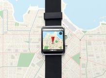Close up of smart watch with gps navigator map Stock Photos