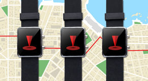 Close up of smart watch with gps navigator map Royalty Free Stock Image