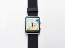 Close up of smart watch with gps navigator map Royalty Free Stock Images