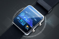 Close up of smart watch with gps navigator map Royalty Free Stock Photo