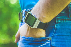 Close up of smart watch on male hand royalty free stock photos