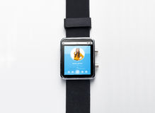 Close up of smart watch with music player Royalty Free Stock Photo