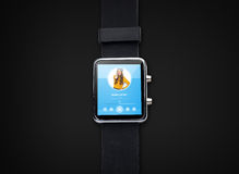 Close up of smart watch with music player Royalty Free Stock Photography