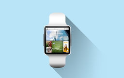 Close up of smart watch with news application Stock Photos