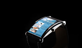Close up of smart watch with news web page Royalty Free Stock Photography