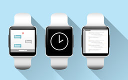 Close up of smart watches with applications Royalty Free Stock Photos