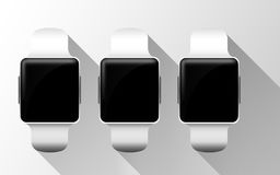 Close up of smart watches with black blank screens Royalty Free Stock Images