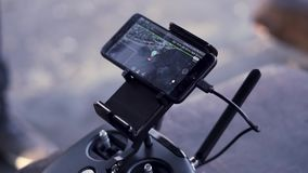 Close up for smartphone with working application Google Maps with destination point, navigation concept. Clip. Close up for smartphone with working application stock footage