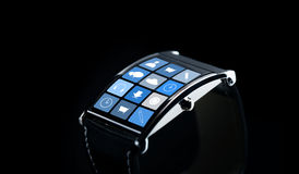 Close up of smartwatch with application icons Royalty Free Stock Image