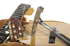 Close Up of a Smashed Guitar Stock Images