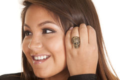 Close up smile ring skull stock photo